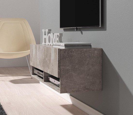 Meubella - TV-Meubel Asino - Betonlook - 100 cm - Met LED-verlichting - MEUBELLA