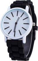 Fako® - Horloge - Siliconen - Stripes - Zwart/Wit