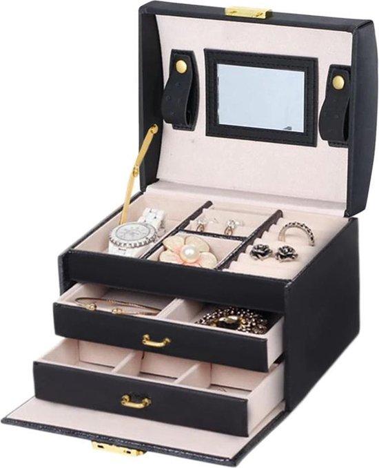 Chique Sieradendoos met Spiegel, Slotje en Handvat - Sieradenbox met 12 Compartimenten en Handige Vakjes - Geschikt voor Horloges, Ringen, Oorbellen en Kleine Sieraden - Confibel Juwelendoos Compact Zwart