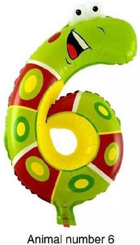 Folieballon XL - Dieren - 46cm - Cijfer 6 - Slang