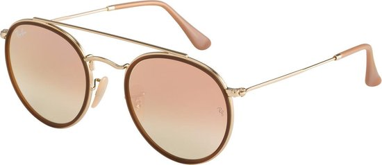 Ray-Ban Round RB3647N Unisex Zonnebril - Goud / Roze