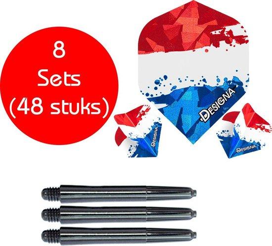 Dragon darts - 8 sets (48 stuks) - Nederlandse vlag - dart flights - inclusief zwarte - dart shafts