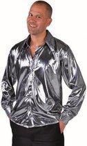 Zilver metallic overhemd voor heren 64-66 (2xl)