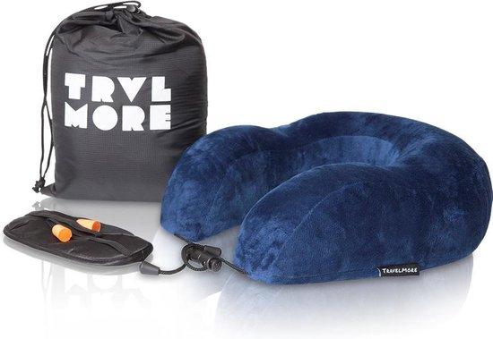 TravelMore Memory Foam Reiskussen Set De Luxe inclusief Oogmasker & Oordopjes – Traagschuim Comfort Nek Kussen - Vliegtuig Kussen - Reiskussentje - Travel Pillow - Neksteun Voor Reis, Vliegtuig of Auto - U-Vorm - Blauw