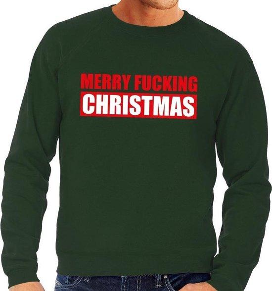 Foute kersttrui / sweater Merry Fucking Christmas groen voor heren - Kersttruien L (52) - Bellatio Decorations