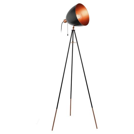 EGLO Vintage Chester Vloerlamp - 1 Lichts - Zwart - Koper
