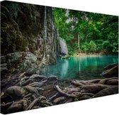 Erawan waterval in jungle Canvas 30x20 cm - klein - Foto print op Canvas schilderij (Wanddecoratie woonkamer / slaapkamer)