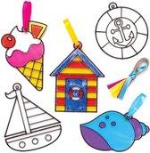 Zonnevangers met strandthema voor kinderen om te versieren - Zomerknutselset voor kinderen (8 stuks per verpakking)