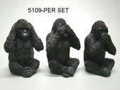 Horen,zien en zwijgen gorilla's - Zwart