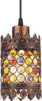 EGLO Vintage Jadida - Hanglamp - 1 Lichts - Koperkleurig - Bont