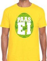 Geel Paas t-shirt met groen paasei - Pasen shirt voor heren - Pasen kleding 2XL