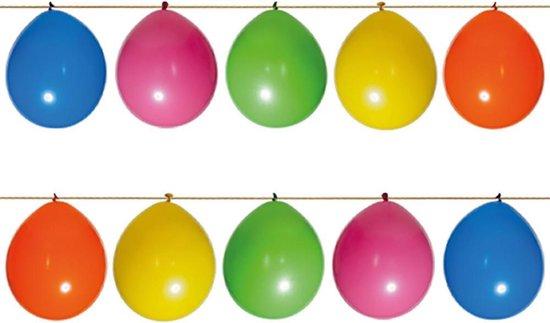 15 ballonnen met lint pakket. Inhoud: 15 basis ballonnen, 15 hangers en 4 meter lint