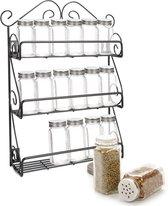 KitchenBrothers Staand en Hangend Kruidenrek voor 21 Kruidenpotjes – Ophangbaar Spice Rack – Keuken Rek - Kruiden Organizer - Specerijen - Chroom