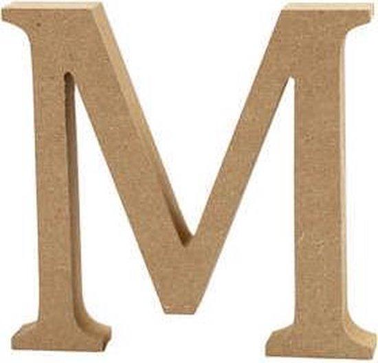 Letter M h: 8 cm dikte 1 5 cm MDF 1stuk