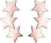 24/7 Jewelry Collection 3 Sterren Oorbellen - Oorknopjes - Geborsteld - Minimalistisch - Rosé Goudkleurig