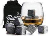 Aretica Whiskey Stenen Stones - Voor een echte whiskey on the rocks - Natuurstenen - Herbruikbare  ijsblokjes - Ice cubes - Ijsklontjes van steen - Set van 9 stuks