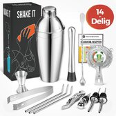 KitchenBrothers 14 Delige RVS Cocktail Shaker Set - Met Receptenboek en Cadeauverpakking - Inclusief Shaker - Zeef - Lepel - Jigger/Maatbeker - IJstang - Roerstaat - Drinkrietjes - Schenktuit - Flessenstop - Flesopener - 750 ML