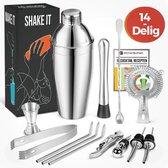 KitchenBrothers 14 Delige RVS Cocktail Shaker Set - Met Receptenboek en Cadeauverpakking - Inclusief Shaker - Zeef - Lepel - Jigger/Maatbeker - Ijstang - Roerstaat - Drinkrietjes - Schenktuit - Flessenstop - Flesopener - 750 ML