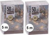 2x Kerstverlichting op batterij warm wit 50 lampjes - Kerstlampjes op batterijen
