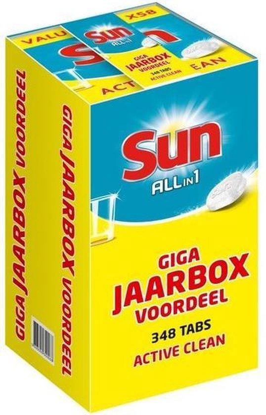 SUN ALL-IN-1 ACTIVE CLEAN VAATWASTABLETTEN JAARBOX - 348 Tabletten