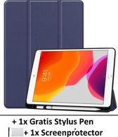 Smart Cover Book Case Hoes Voor Apple iPad 10,2 Inch (2019) - Tri-Fold Multi-Stand Flip Sleeve - Beschermhoes Met Screen Protector & Stylus Pen - Donker Blauw