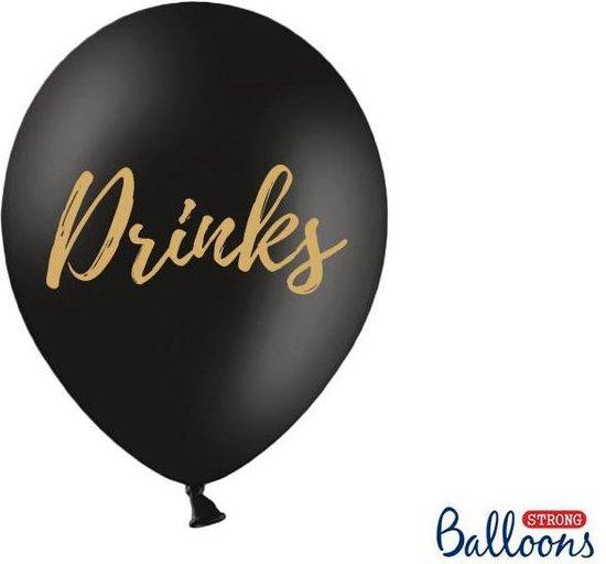 Ballonnen zwart Drinks goud 50 stuks
