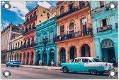 Tuinposter –Kleurrijke Straat in Cuba– 90x60cm Foto op Tuinposter (wanddecoratie voor buiten en binnen)