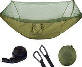 Hangmat met klamboe - Outdoor Camping - Muggennet - 250 x 120 cm - Groen