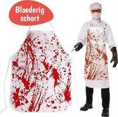 Halloween Verkleedkleding - Bloederig Verkleed Schort Volwassenen - Halloween Kostuum - Fake Blood - Horror - Nep Bloed - Helloween - Decoratie - 1 Stuk