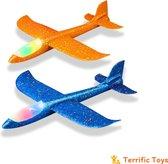 TerrificToys ® Zweefvliegtuig met verlichting XL - Zweefvliegtuig foam - werpvliegtuig - Zweefvliegtuig speelgoed - Set van 2 - Oranje en Blauw