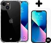 iPhone 13 Hoesje - Case Transparant - 2x Glass Screenprotector - shockproof - schokbestendig - screen protector - beschermglas