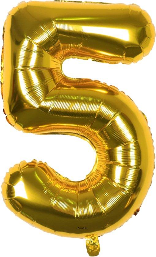 Cijfer Ballonnen - Cijfer Ballon Goud - Cijfer 5 Ballon - 82 cm Hoog - Ballonnen Verjaardag - Feestversiering - 50 Jaar - Fienosa