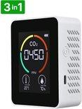 The Life Style Goods - 3 in 1 CO2 Meter, Melder & Monitor - Thermometer - Hygrometer Binnen - Draagbaar en Oplaadbaar - Wit
