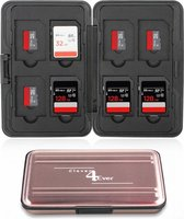 Clever4Ever - SD Kaart houder - 16 plekken - Waterdicht - Geheugenkaart houder - Micro-SD kaart houder - Rosé