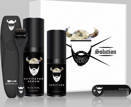 Beard Solution baardgroei kit - Baardgroei set - Baardgroei kit - baardolie - Baardgroei - Cadeau voor mannen - Baardgroei stimuleren - Baard serum - Baardgroei olie - Derma roller  - Verzorg set - Baard verzorging - Giftset - Baardroller - Minoxidil