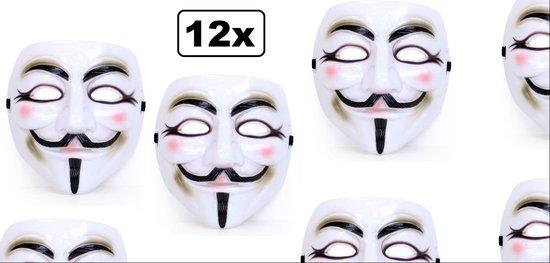12x Masker Vendetta wit - Halloween film themafeest movie griezel vendetta