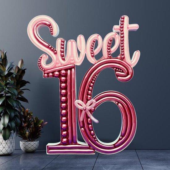 mozaïek ballonnen frame sweet 16       120 x 95 cm