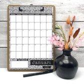 Kalender 2022 met Klembord - Maandkalender - Maandplanner zwart wit