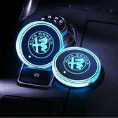 Coole Lichtgevende LED Onderzetters - Bekerhouders - Sfeerverlichting - LED Licht - Interieur Verlichting - 7 Verschillende Kleuren LED - Opladen via USB – Alfa Romeo