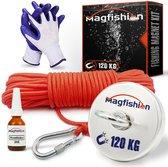 Magfishion® Magneetvissen Set - 120 KG - Vismagneet - 20 Meter Lang Touw + Karabijnhaak met Schroefsluiting - Handschoenen - Borgmiddel - Magneetvissen Starterspakket - Magneet Vissen - Outdoor
