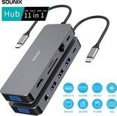 Sounix® 11 in 1 dockingstations - USB-C Hub Adapter - 4K UHD HDMI - VGA - USB 3.0 - Docking Station