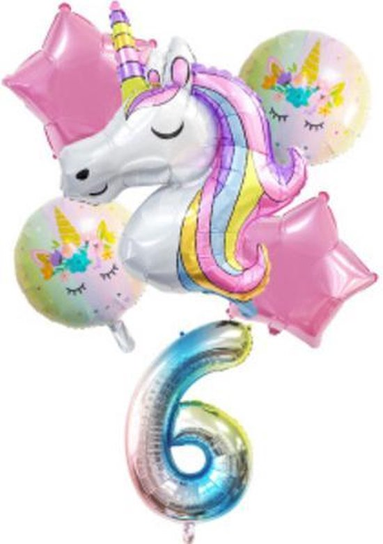 Unicorn Ballonnen – 6-Delige Folieballonnen Set – Cijfer 6