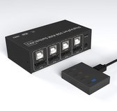 NÖRDIC KVM-102 KVM switch 4 in naar 1 uit - 4x PC naar 1x DP 4K60Hz - 4x USB - voor Xbox, PS5 en laptop - Zwart