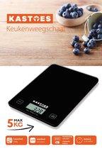 Kastoes® Precisie Weegschaal Keuken – Tempered Glass – Incl Batterij – Digitaal Klein – tot 5000 gram – Zwart – Perfect voor in de Keuken – Nieuw