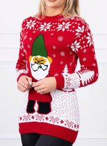 Foute Kersttrui Dames - Christmas Sweater - Kabouter Rood - Kerst Trui Maat S