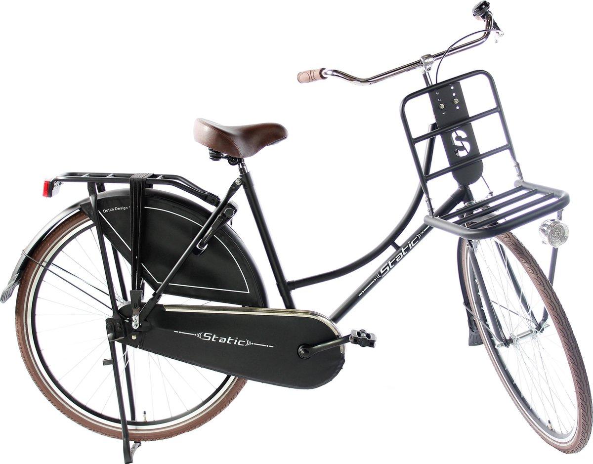 Omafiets 28 inch - Mat zwart  - Dames Transportfiets