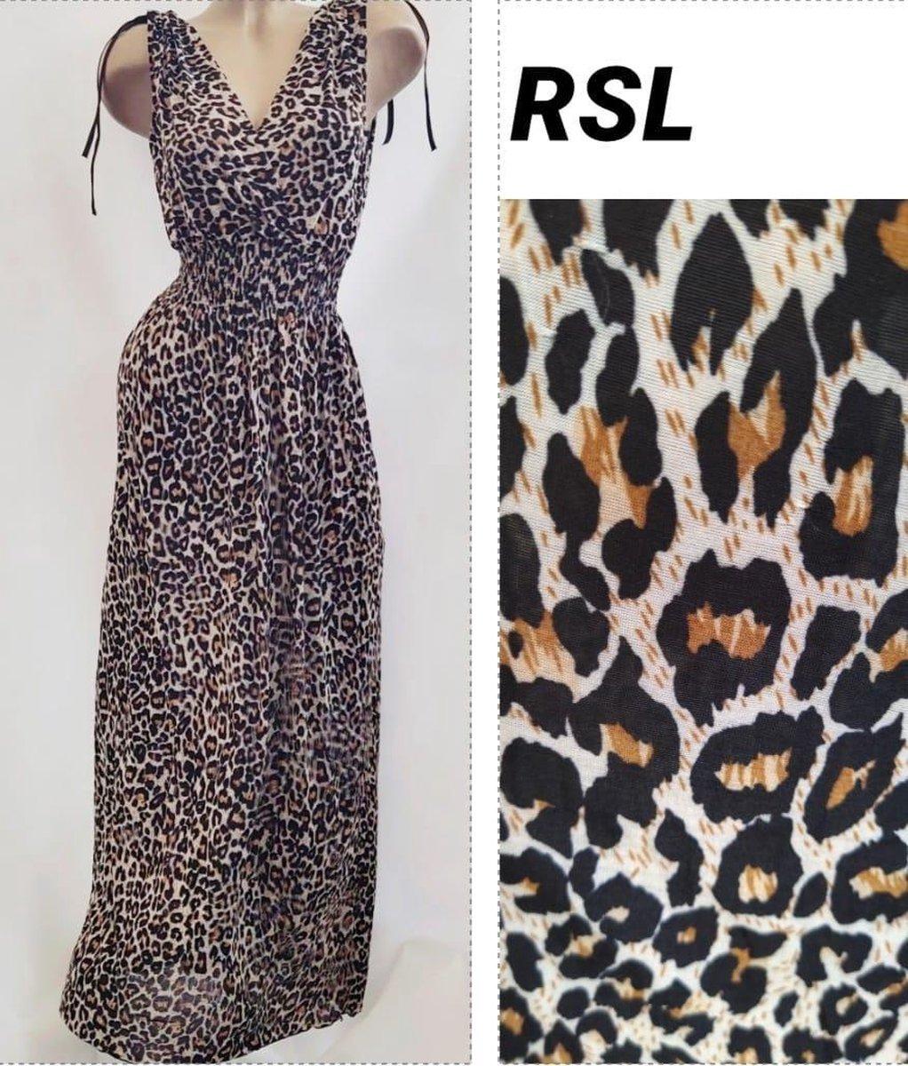 Dames jurk met panterprint bruin one size 36-42
