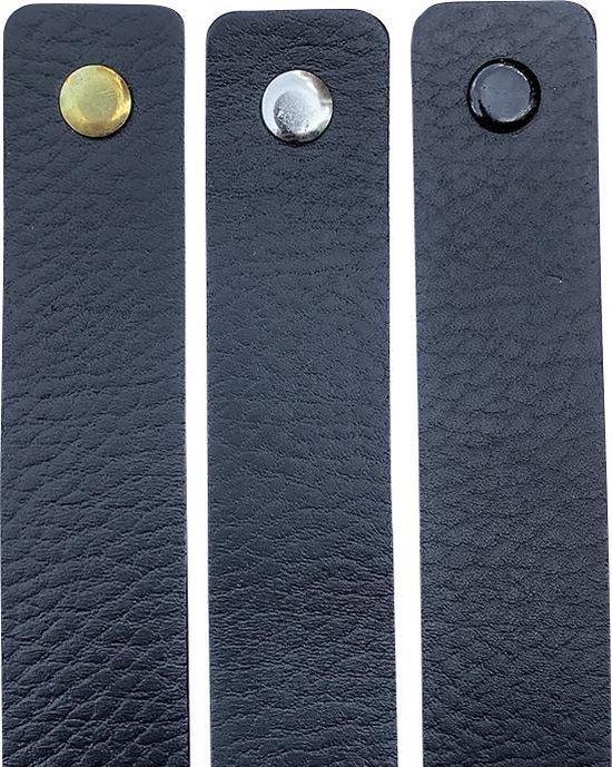 Leren handgrepen - Zwart - 6 stuks - 16,5 x 2,5 cm | incl. 3 kleuren schroeven per leren handgreep - Brute Strength