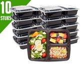 Meal Prep Bakjes - 10 stuks - 3 vakken - Herbruikbaar - Mealprep Containers - Vershoudbakjes - BPA Vrij - 1100 ML - Box - Magnetron bakjes - Diepvries bakjes - Koelkast bakjes - Lunchbox met vakjes - Zwart