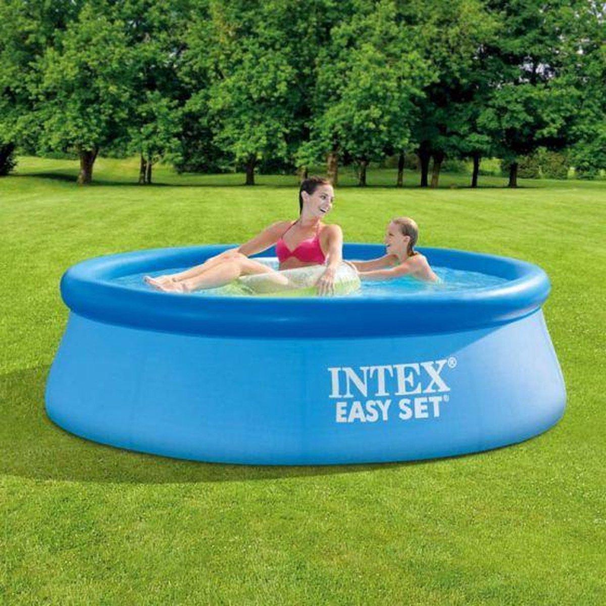 Intex zwembadset rond 244 x 66 cm + 1 gratis zwemband. Wordt u aangeboden door DYROX - Zwembad - Tuin - Camping
